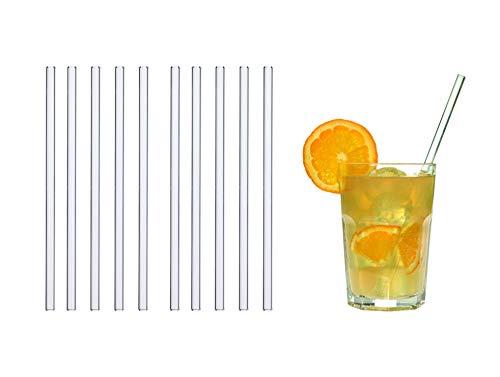 TFA Dostmann GlasWerk Medium Glas Trinkhalme, 14.2016.10, 10 Stück, Spülmaschinengeeignet, für Longdrinks/Latte Macchiato