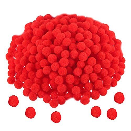 Wrubxvcd Pompons Sortiment für Freizeitbedarf und Basteln Kreative Poms, Polypropylen, rot