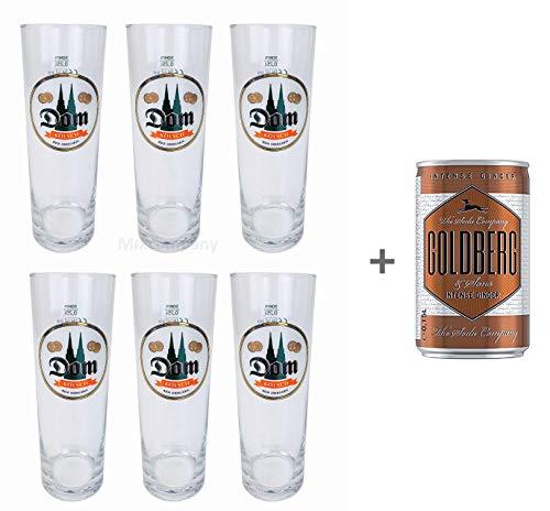 Dom Kölsch Glas Stange Set - 6X Gläser 0,25l geeicht Bier Pils Karneval Bar + Goldberg Intense Ginger 0,15l EINWEG Pils-bar Set