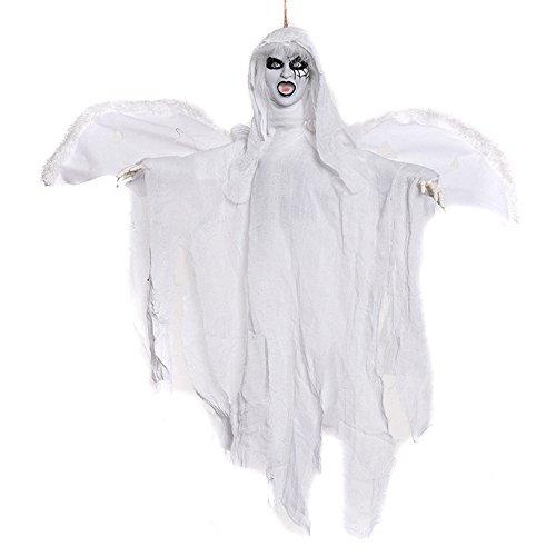 YHOOEE Halloween Dekoration Hängenden Geist Gruselig Scary Animated Horror Haunted House Requisiten Sound, Augen Glühen,White
