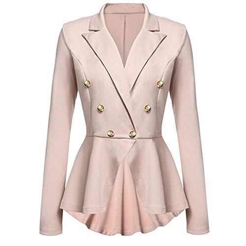 Oliviavan,Damen Langarm Blazer Rüschen Peplum Button Casual Jacke Mantel Outwear Cocktailkleid...
