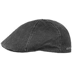 Stetson Flatcap Level Herren - Schirmmütze mit Baumwolle - Herrenmütze mit UV-Schutz 40+ - Mütze im Vintage-Look - Schiebermütze Sommer/Winter - Flat Cap schwarz M (56-57 cm)