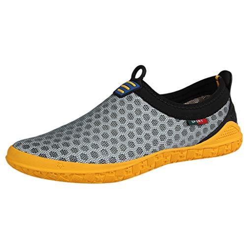 AIni Herren Schuhe Sale Mode Beiläufiges 2019 Neuer Heißer Sommer Watschuhe Mesh Atmungsaktive Schuhe Upstream Freizeit Sportschuhe Freizeitschuhe Partyschuhe (45,Grau)
