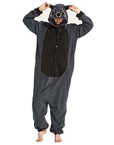 dressfan Unisex Adult Animal Pyjamas Waschbär Cosplay Kostüm