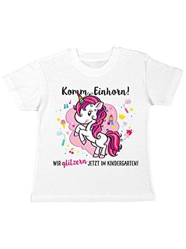 clothinx Kinder T-Shirt Kindergartenstart Komm, Einhorn! Wir Glitzern Jetzt im Kindergarten! Weiß/Pink Größe 104