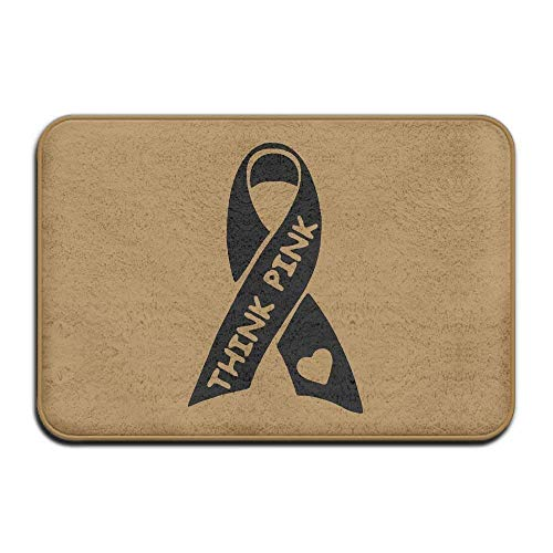 Think Pink Breast Cancer Awareness with Ribbon Non-Slip Outside/Inside Door Mat Rug for Health and Wellness Kitchen Hallway Bath Office Bathroom Doormat 23.6