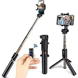 ONSON Bastone Selfie Treppiede 3 in 1 Estensibile Selfie Stick con Bluetooth Remote Shutter Asta per Selfie per iOS, Samsung Galaxy s7 e Android 3.5-6 Pollici Smartphone Rotazione di 360°