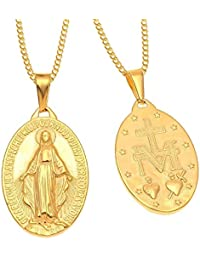 BOBIJOO Jewelry - Collier Médaille Pendentif Vierge Marie Miraculeuse Plaqué  Or 27mm 19mm Communion Baptême Chaîne Acier… 56f44d26150
