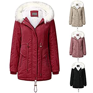 Toasye Damen LäSsig Kapuze Winter ReißVerschluss Taille Warmen Mantel Revers Lange Trenchcoat Jacke Outwear Winter Jacket