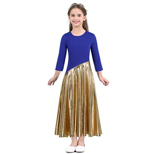 (Freebily Mädchen Ballettkleid Langarm Tanzkleid Ballettanzug Turnanzug Tanz Kleidung Wettbewerb Performance Kleid Halloween Kostüm Blau 128/8 Jahre)
