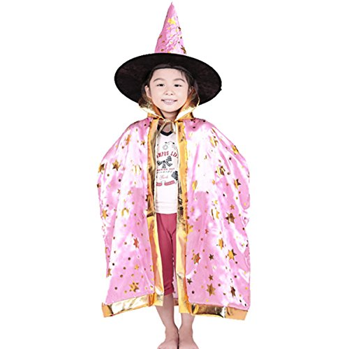 Kinder Halloween Umhang Cape mit Kapuze ca. 80 cm Einheitsgröße 8-10 Jahre