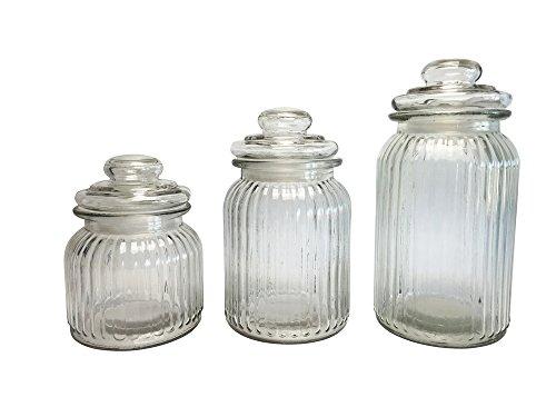 Vorratsgläser 3er Set, Candy Gläser, Tee-Aufbewahrungsglas, Müsli-Glas, Vorratsglas, Bonbonglas, Dekoglas, Höhe 15, 18 und 23 cm Candy Glas