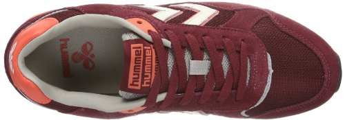 Mens Hummel Marathona Low Suede Trainers Navy/Yellow Rosso (Rot (CABERNET))