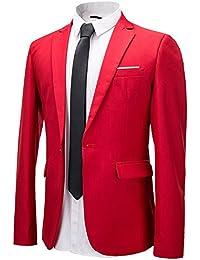Herren Anzug Jacke Sakko Slim Fit Blazer Business Freizeit Smoking Hochzeit Einfarbig von Harrms, 10 Farben, Grösse 46-56