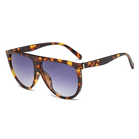 Sonnenbrille,Dairyshop Art und Weise Frauen-große Feld-Sonnenbrille Flat Top Designer Weinlese -Brille Shades New (Schildpatt + Grau)