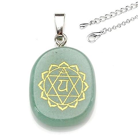 JOVIVI 7 Stein Chakra-Anhänger Halskette Edelstein Symbol Feng Shui Healing Reiki Anhänger Pandent mit 71cm Kette(Averturin)