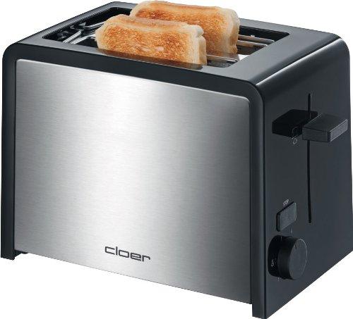 Cloer 3210 Toaster / 825 W / für 2 Toastscheiben / integrierter Brötchenaufsatz / Nachhebevorrichtung / Krümelschublade / wärmeisoliert / Edelstahl