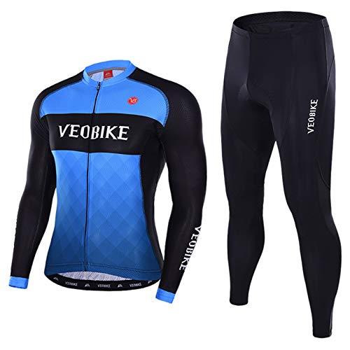 SonMo Herren Damen Radfahren Jersey Set Fahrradbekleidung Set Schutz Radjacke + Fahrradhose Fahrradhosen Radhose Sommer mit Sitzpolster Thermische Reflektorstreifen Blau XL - Thermische Spandex