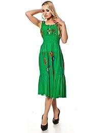 langes Carmen Kleid Sommerkleid Maxikleid Strandkleid Blumenmuster Baumwolle