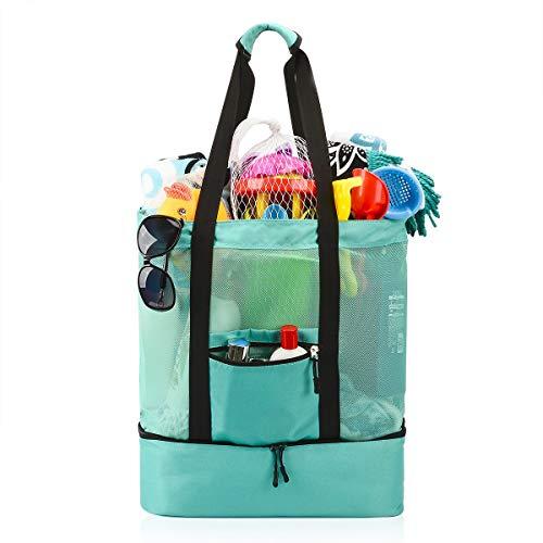 Casefashion Strandtasche Badetasche XXL mit Wasserdichter Kühlfach Hoch Kapazität Reißverschluss Größenangabe 51x41x17 CM, Ideal für Reise oder Ausflug mti Kindern Beachbag Urlaubstasche(Hellgrün) -
