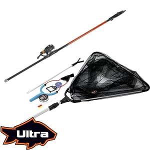Ultra Fishing - Set de Pêche Complet pour Débutant avec Canne Télescopique, Moulinet et Epuisette