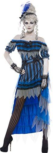 Geisterhaftes Saloon-Mädchen Kostüm Blau mit Kleid Überrock und Haarband, (Für Kostüme Erwachsene Halloween Tänzerin)