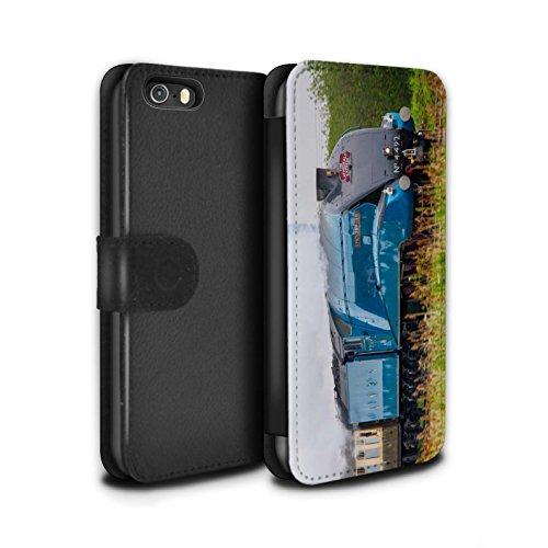 Stuff4 Coque/Etui/Housse Cuir PU Case/Cover pour Apple iPhone SE / Tornado Design / Locomotive Vapeur Collection Dominion NZ/Bleu