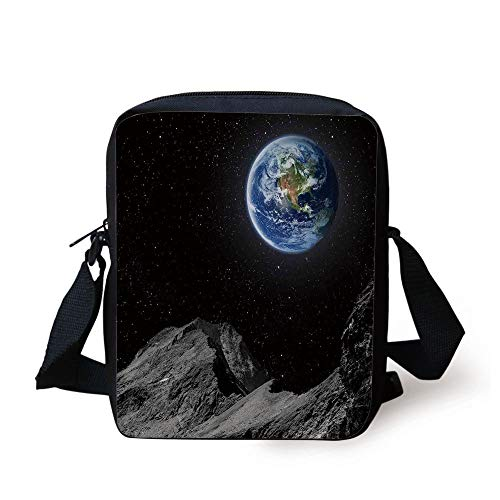 Galaxy,Planet Earth Rocky Cliffs of Moon Lunar Panorama Art Cosmos Outer Space Print,Blue Black Grey Print Kids Crossbody Messenger Bag Purse -