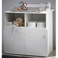 PEGANE Commode table à langer avec 2 portes et 2 niches, Coloris blanc motif jungle, 87 x 101 x 73 cm