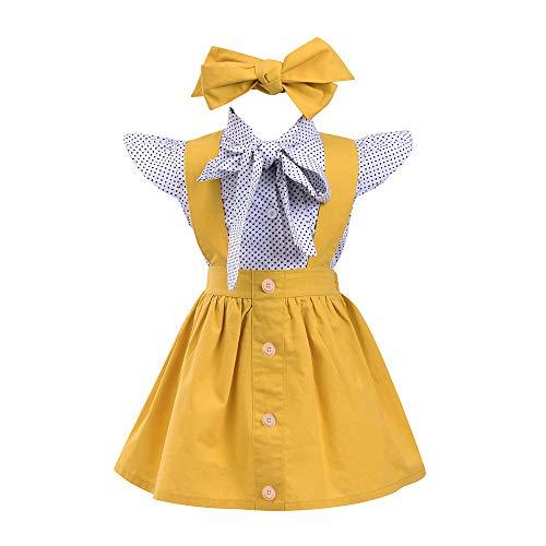 TTLOVE 3 StüCke Kleinkind Baby MäDchen Dot Print Tops T-Shirt Strap Rock Outfits Set Kinderkleidung Infant Britischen Stil Welle Punkt Druck Kurzarm-Shirt Jackedrei StüCk Anzug (Gelb,110) -