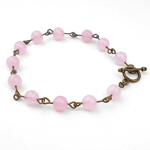 rose-quartz-bracelet-in-antique-bronze-or-silver-tone