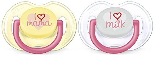 Preisvergleich Produktbild Philips Avent Klassik Design Schnuller 0-6 Monate SCF172/52, Doppelpack, Mädchen, transparent/gelb