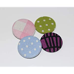 4er Button-Set bunt gemischte Stoff-Buttons