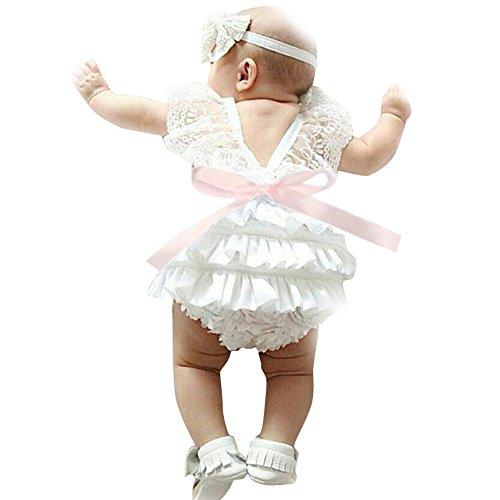 Bekleidung Longra Neugeborenes Baby Mädchen Sommer Kleidung Lace Floral Overall Strampler rückenfreie Trägerkleid Outfits (0-18Monate) (65CM 0-3Monate, White)