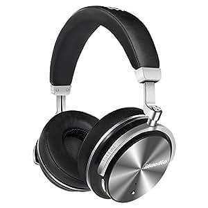 Bluedio T4S (Turbine) - Cuffie Over-ear Bluetooth Orientabili con Cancellazione Attiva del Rumore e Microfono (Nero)