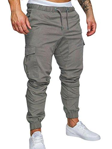 Herren Hose Cargo Chino Jeans Stretch Jogger Sporthose Slim-Fit Freizeithose (Grau, M)