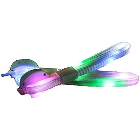 Wonderfully Maravillosamente los cordones LED encienden para arriba los cordones del zapato con Multicolor a la opción en Hip-hop, patinaje, danza, partido, funcionando y deportes del