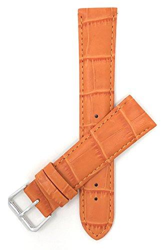 Leder Uhrenarmband 16mm für Damen, Orange, Alligatormuster, auch verfügbar in weiß, blau, rot, , rosa, dunkelgrün