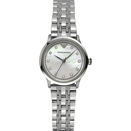 Emporio Armani Women's Quartz Watch with Silver Dial Analogue Display and Silver Stainless Steel Bracelet AR1803