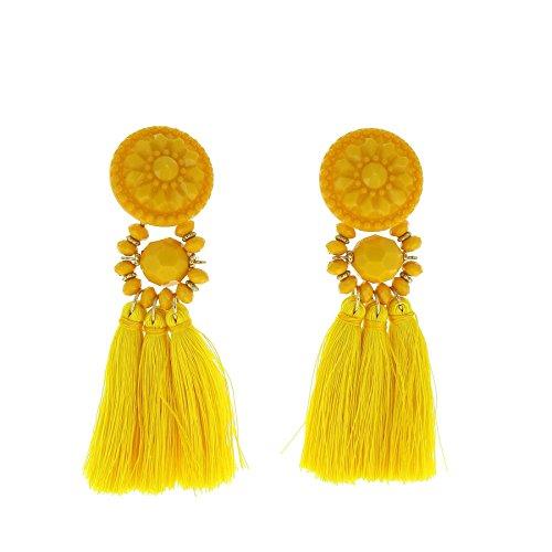 Pendientes amarillos colgantes con flecos