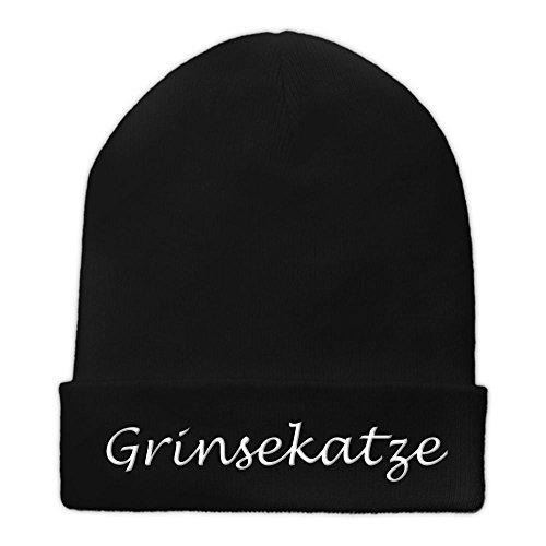 Beanie-Mütze mit Namen Grinsekatze Bestickt - Farbe Schwarz - personalisierte Mütze, Strickmütze, Namensstickerei