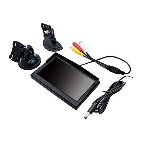 MASO Digitaler TFT-LCD-Auto-Monitor für Rückfahrkamera, 12,7 cm (5 Zoll), 800 x 480 Display, mit Zwei Halterungen und Zwei Videoeingängen Mtx-monitor