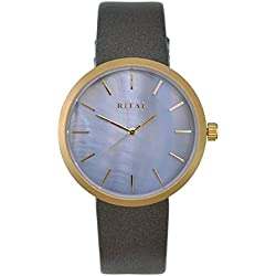 Women's Watch RITAL Gold Metal Case and Indexes Grey Mother of Pearl Dial and Grey Band / Simple Elegant Classic Design