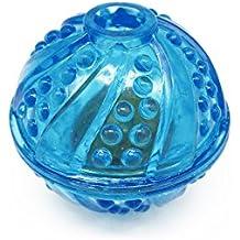Satispet - Pelota de juguete para perro con campana, color azul, pequeña