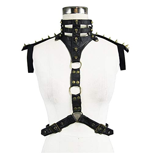 wrock Body Half Chest Harness Gürtel Bund Beefy und Aggressive Look Club Wear Kostüme Cosplay Steampunk Rivet Gothic Guard Rüstung Cocktailkleid ()