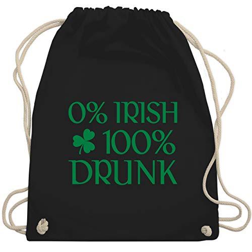 St. Patricks Day - 0% Irish 100% Drunk St Patricks Day - Unisize - Schwarz - WM110 - Turnbeutel & Gym ()