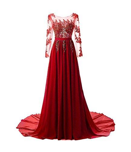 Abendkleider Damen Lang Elegante Hochzeit Chiffon Festlich Spitze A Line Maxi Ballkleid Cocktailkleider 32-46 FStory&Winyee 2017 Dress