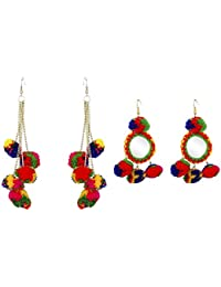 Michelangelo Multicolour Fabric Earrings Combo for Women
