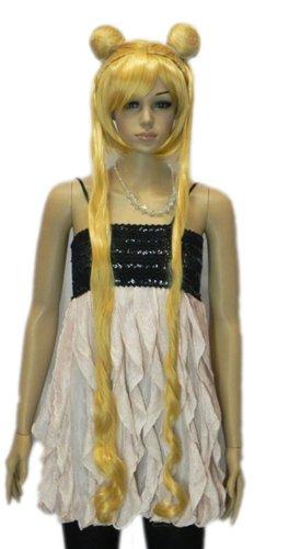 QIYUN.Z Haarteile Damen Perücken Sailor Moon Langen Wellenförmigen Gelben Vollhitzebeständige Faser Synthetische Cosplay Anime Kostüm ()