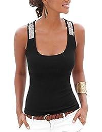 5b4b6af6788e hippolo Damen Weste Top Sparkle Pailletten Glitzer Bling Shiny Glänzend ärmellos  Tank Top T-Shirt Blusen Damen…